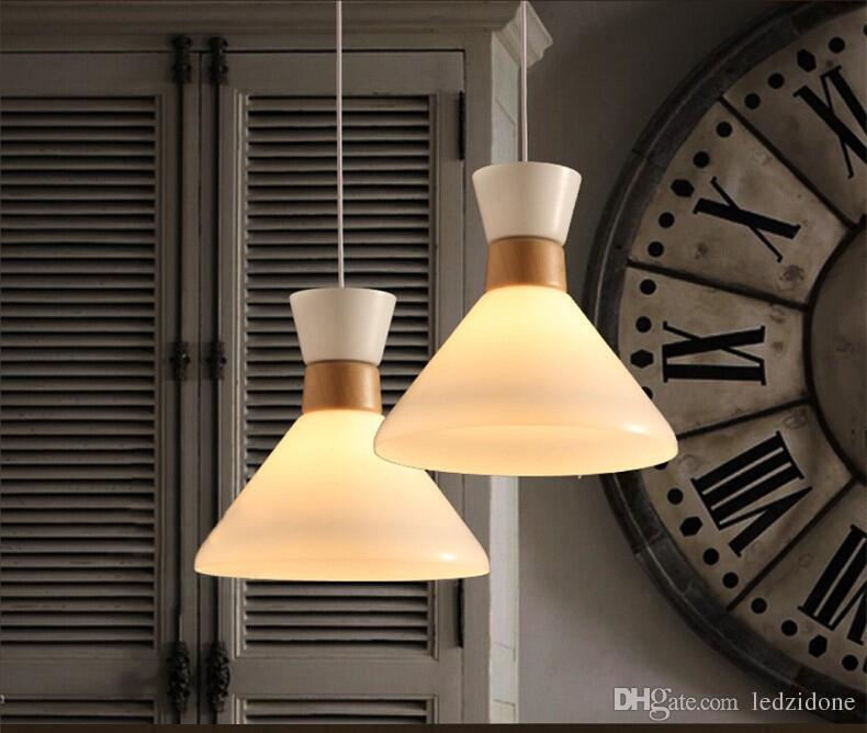 2016 Nordic Glass Chandelier White Milk Glass Lampshade Dia33*H32cmDining  Room Japanese Wooden Chandelier Hanging Light Home Art Decoration Modern  Glass Tom ...