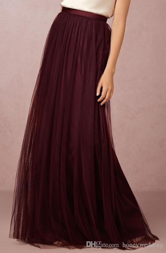 CHAUD! Burgundy Tulle Jupe Longue Adulte 2017 Nouveau Custom Make Maxi Jupes For