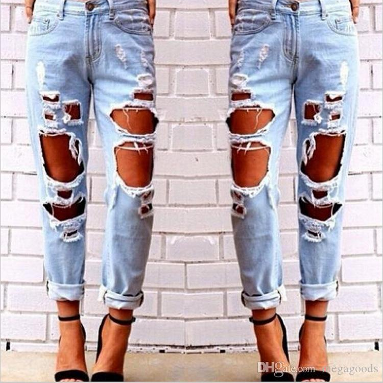 Hot Women Girl Big Holes Ripped Destroyed Skinny Denim Jeans Sexy ...