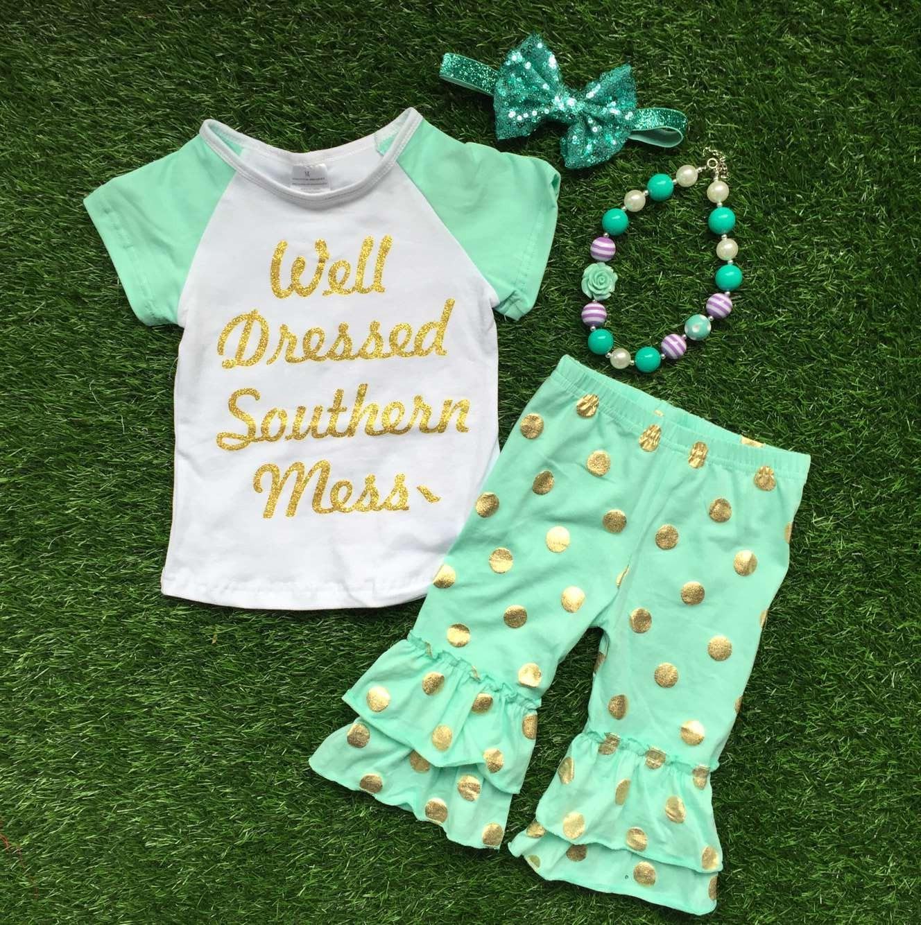 Shirt design for baby girl - 2016 Summer Design Girls Baby Style Hot Gold Dot Well Dressed Capri Outfit Child Clothing With Matching Necklace And Bow Baby Clothes Summer Outfit Boutique