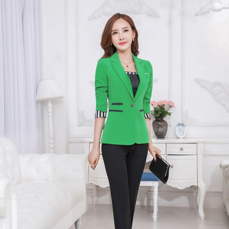 2017 Wholesale Ladies Green Blazer Women Business Suits Formal Office Suits Work Pant And Jacket ...