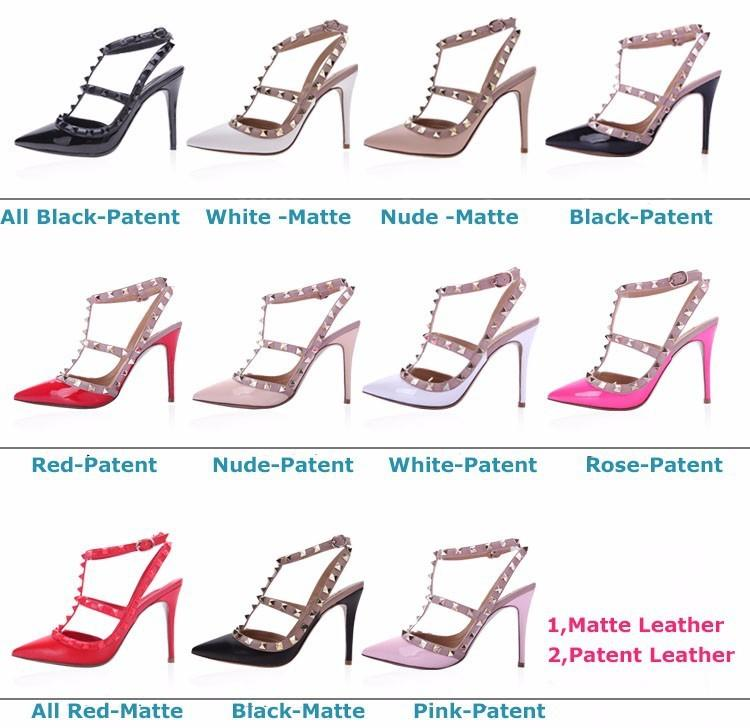 Fashion 2106 Summer New Name Brand Pointed Toe Rivets Lady ...