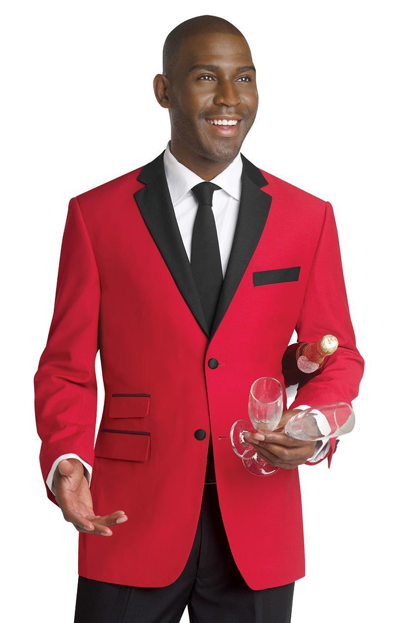 Custom Notched Lapel Groom Tuxedos Mens Suits Red Wedding Suits For Men Two Button Groomsmen