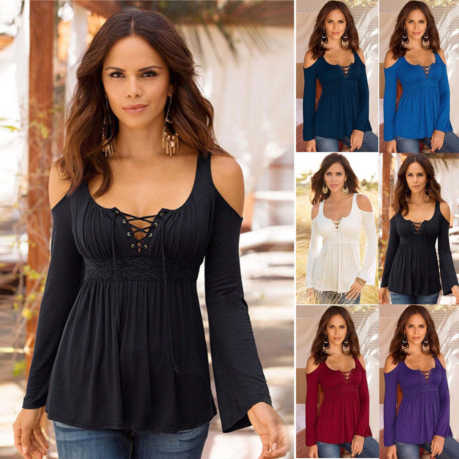 Fashion Womens Pleated Lace Up Neck Off Shoulder Blouse Ladies ...