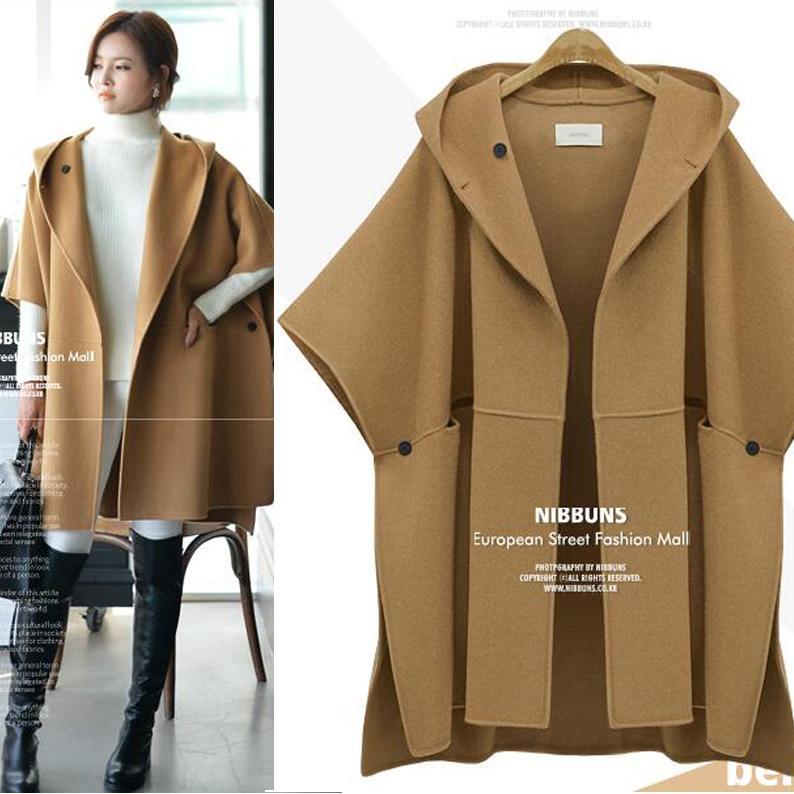 Europe Wool Coats Woman Cloak Jacket Plus Size Fat Women Winter ...
