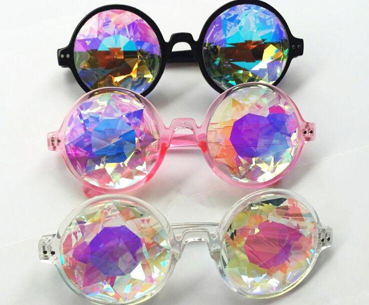 Fashion Retro Round Kaleidoscope Sunglasses Men Women Designer Eyewear Kaleidoscope lens Glasses oculos Party supplies free shipping HY1257
