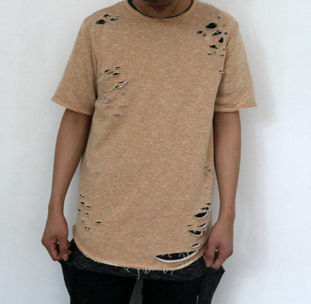 Ripped Tees Swag Summer Cool Longline Kanye West Ripped