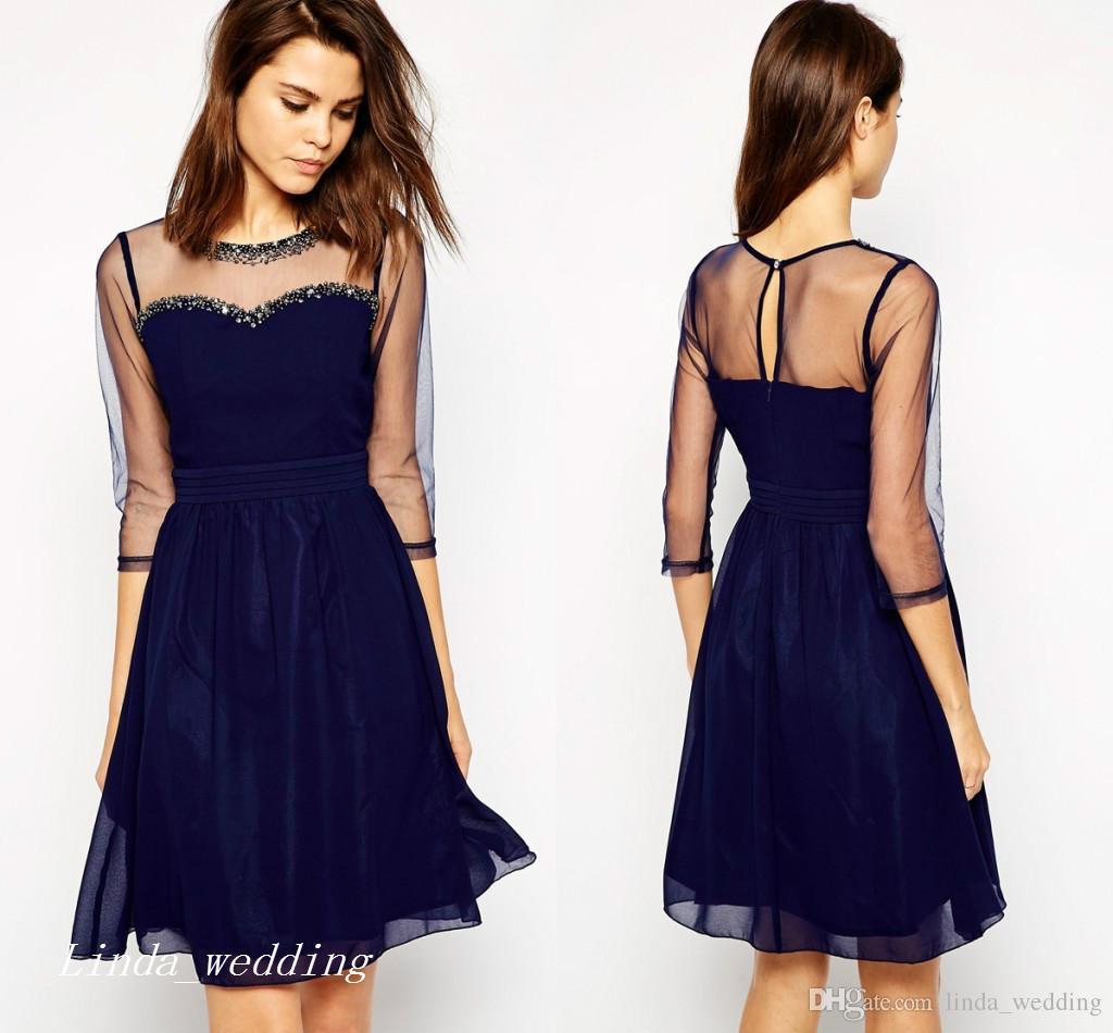 Cute Dark Navy Blue Short Prom Dress Sheer Beaded Chiffon
