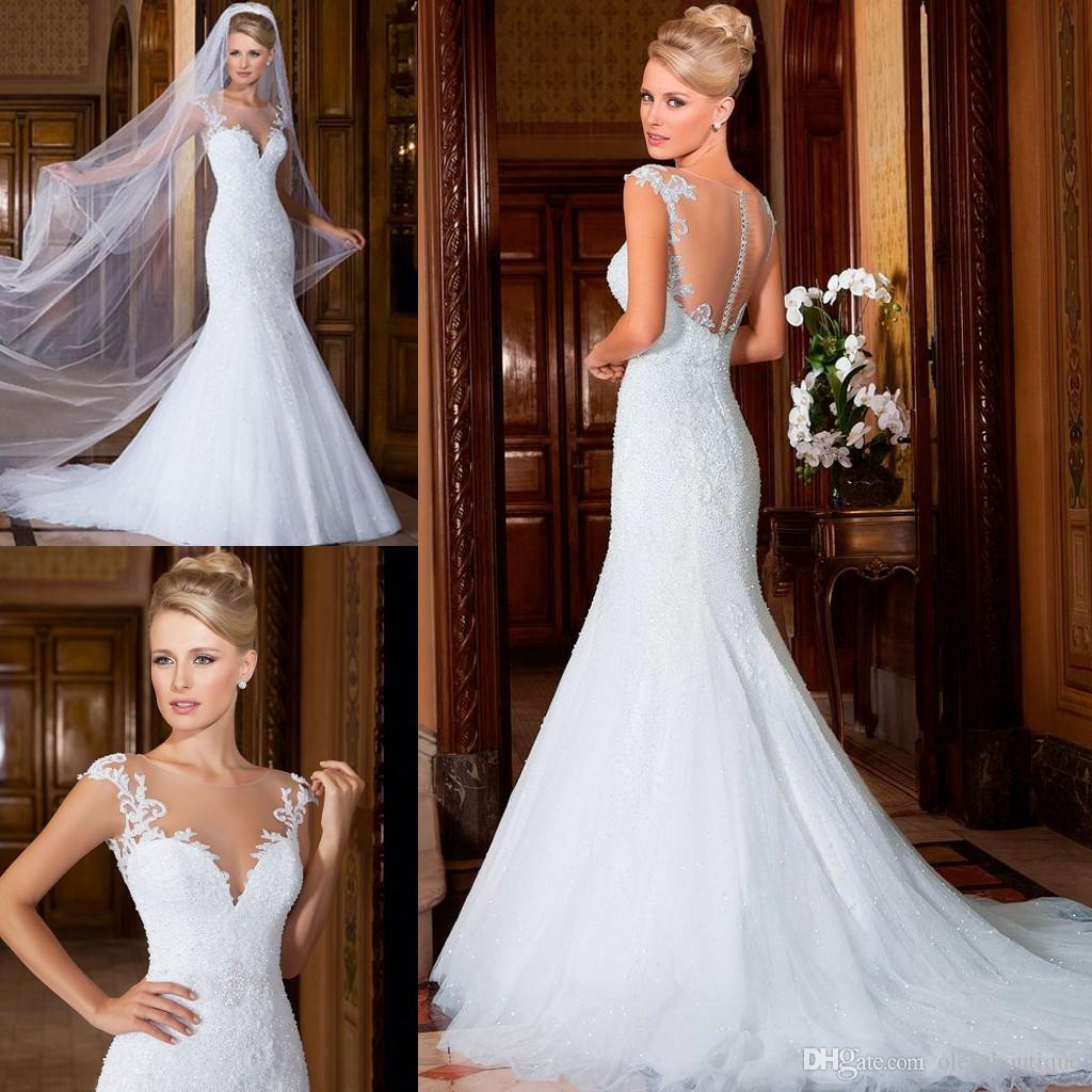 Glamorous White Mermaid Wedding Dresses 2016 Sheer Crew