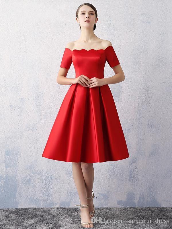 Party Dresses For Women 2016 Elegant Red Strapless Tea Length Prom ...