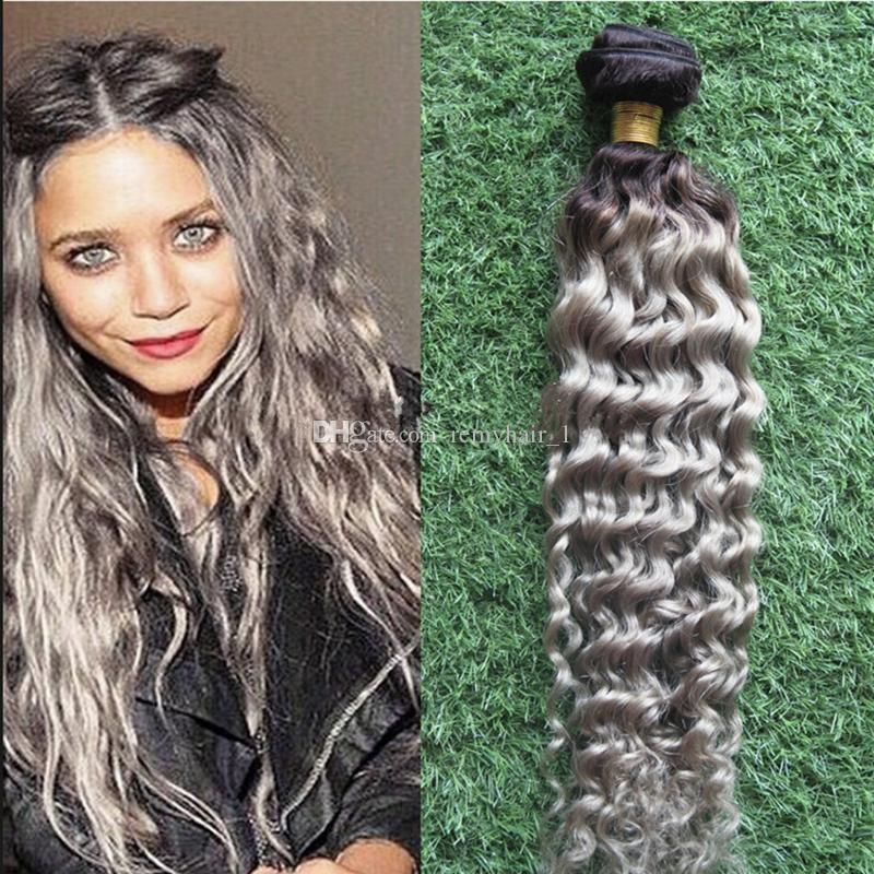New 8a Ombre Brazilian Hair Deep Wave Grey Hair Weave