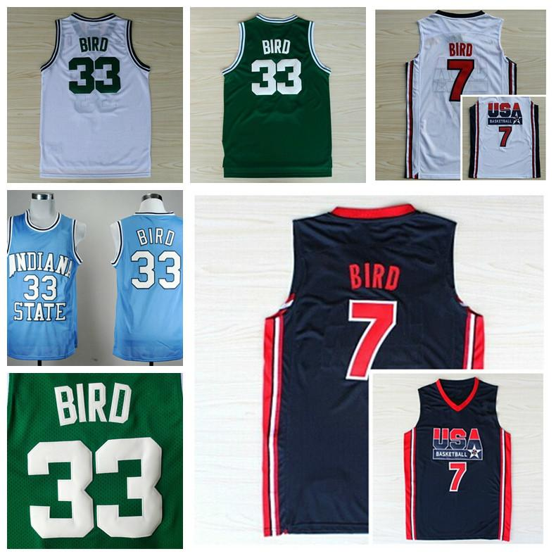 1992 USA Dream Team Larry Bird Jersey 7 Throwback Indiana State Sycamores 33 Lar