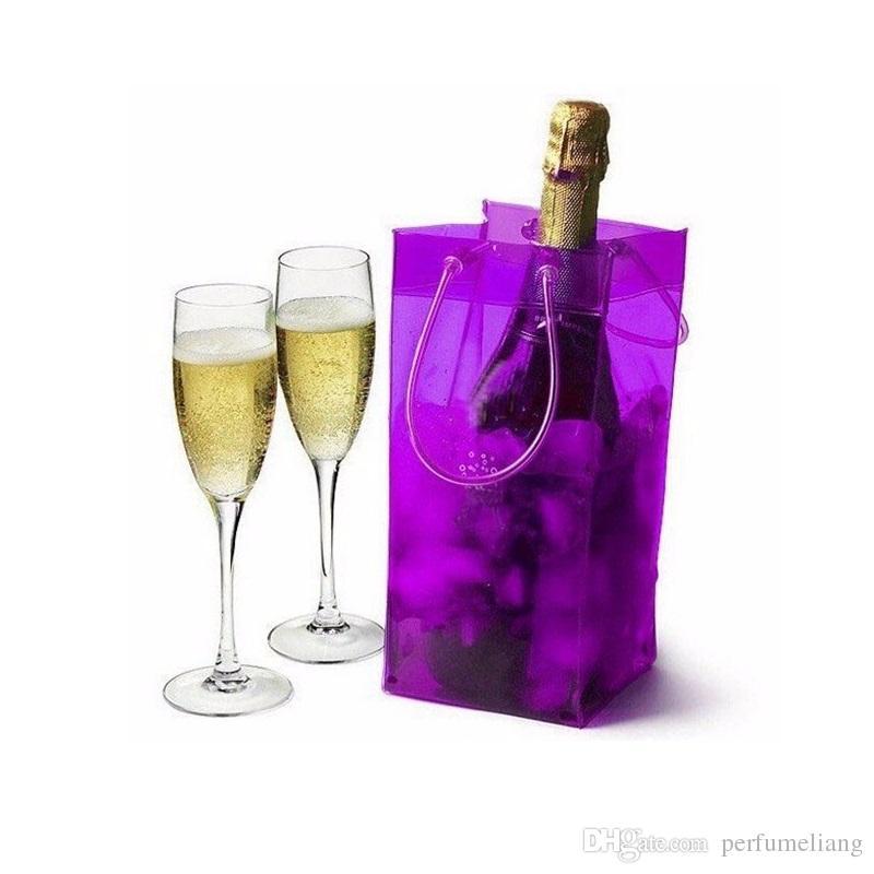 2018 hot sale wine cooling ice bag pvc bottle beer holder for Purple wine bottles for sale