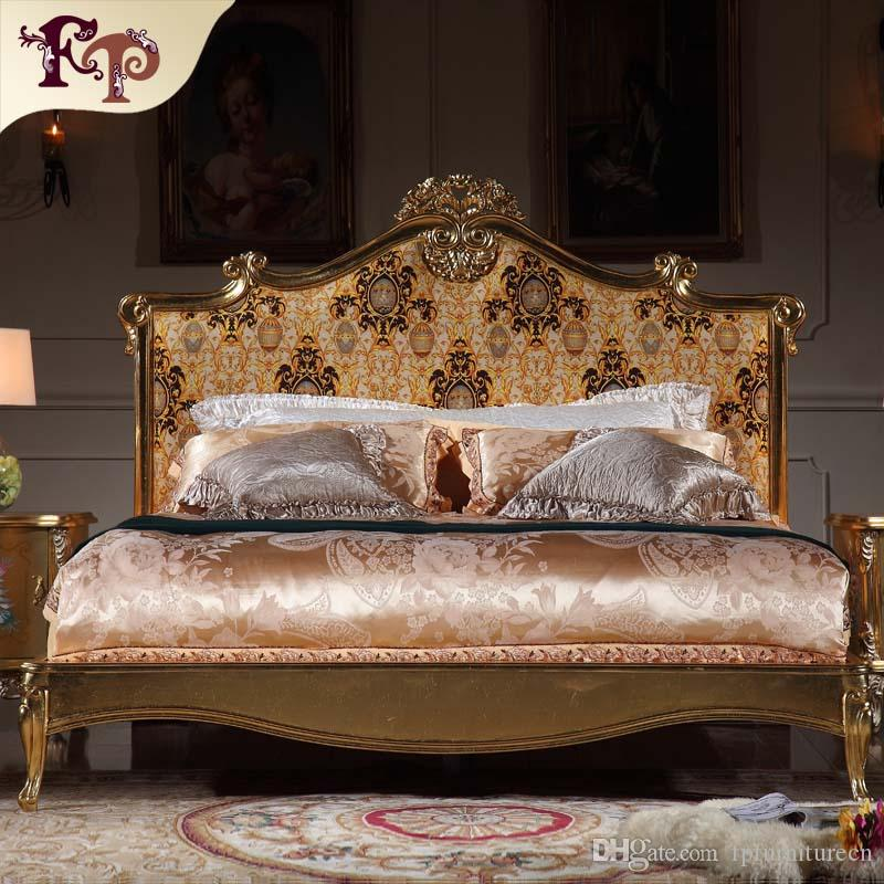 Italian luxury bed   French rococo bedroom furniture   solid wood carved  furniture with gold leaf. 2017 Italian Luxury Bed French Rococo Bedroom Furniture Solid Wood