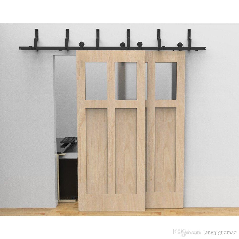 2017 6 6ft Black Antique Sliding Roller Bypass Barn Double Wood Door Hardware Rustic Closet
