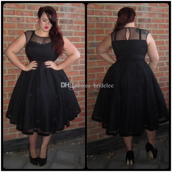 Plus Size Black Sheer Jewel Prom Dresses Zipper Back A Line Tea Length Formal Evening Gowns For ...