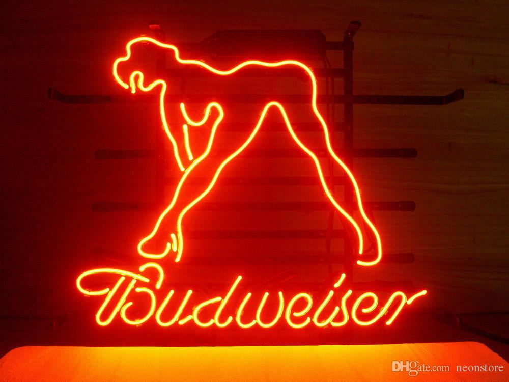 neon light sign bar budweiser bud beer glass dancer display club party lights handcrafted lady live 20x16 pub larger