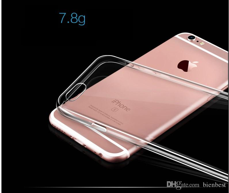 iPhone 6 6s Plus Cell Phone Case 5s SE Ultra Thin Apple Samsung TPU Mobile Clear Transparent Protective Sleeve Soft Shell DHL