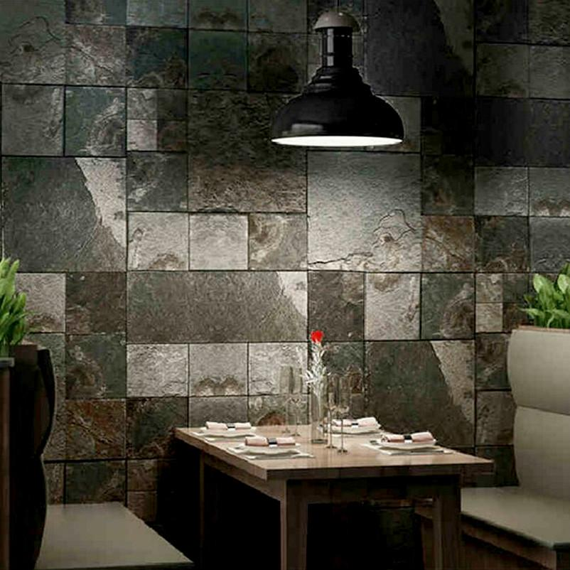 Home Decor 3D Effect Wall Tile Textured Roll Vinyl Faux Stone