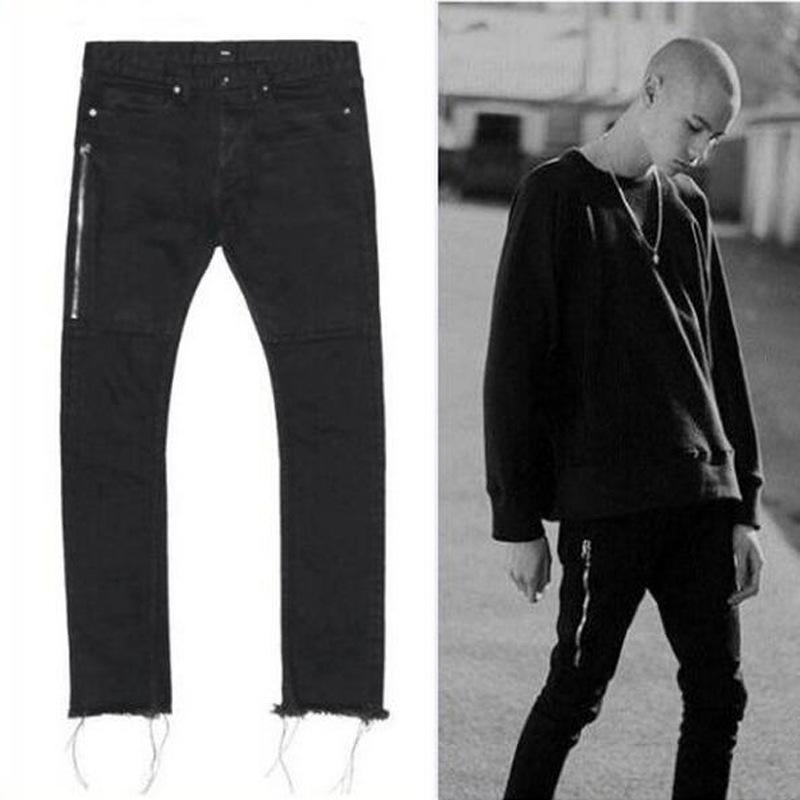 2017 Mens Black Skinny Jeans 424 Four Two Four Side Zipper Raw ...