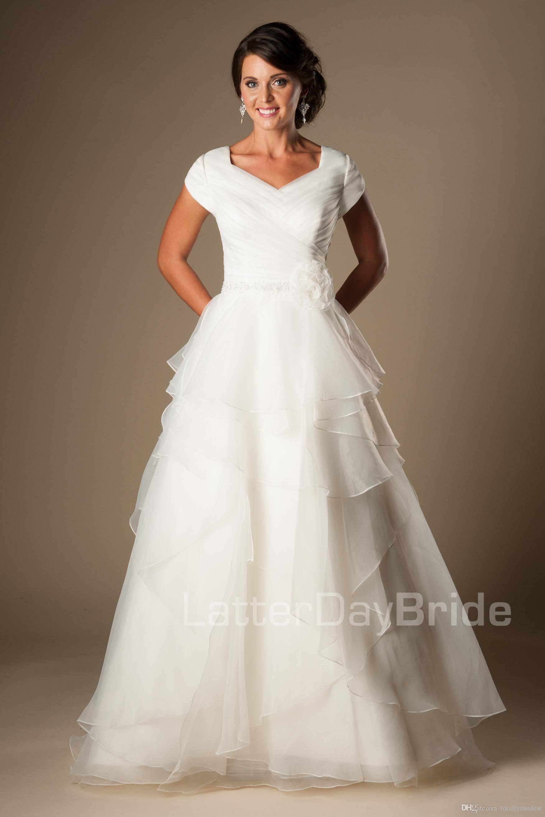 Simple Ivory Organza Modest Wedding Dresses With Cap
