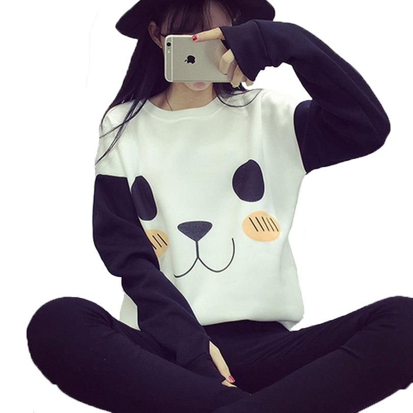 New College Wind Femmes Hoodies Fashion Cartoon Panda Sweatshirts Casual imprimé