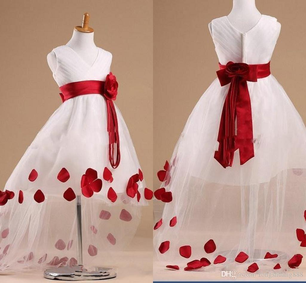2016 Beautiful Flower Girl Dresses Cheap V Neck Zipper Ruffles With Red Big F