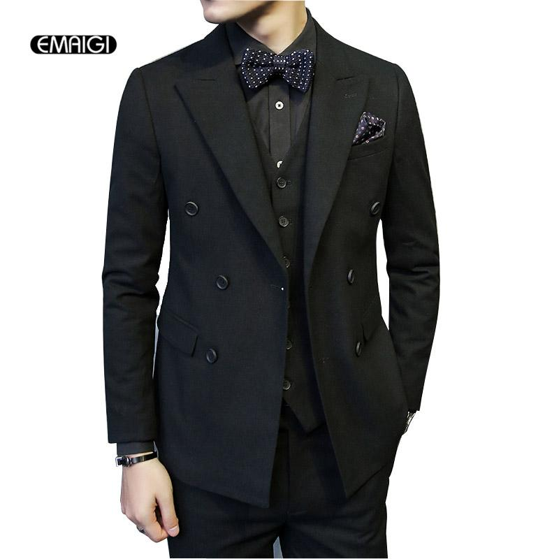 Wholesale- Men Slim Fit Double Breasted Suit Male Custom Business ...