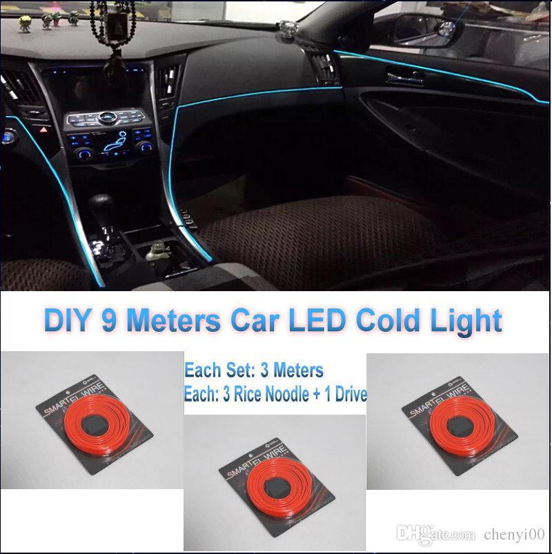 for audi diy 9 meters 12v car el cold light led interior lights decorative ambient lighting. Black Bedroom Furniture Sets. Home Design Ideas