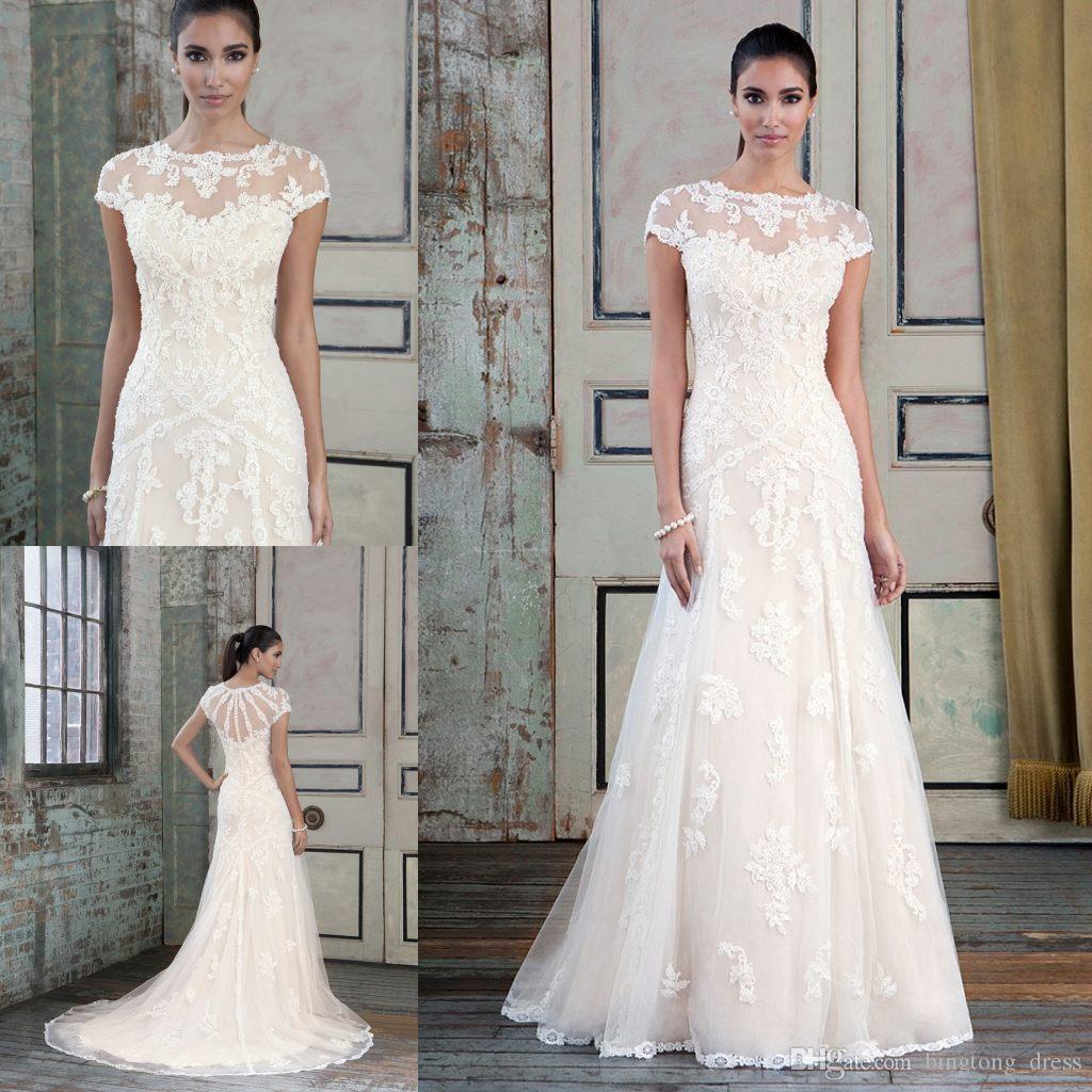 Discount A Line Jewel Elegant Appliques Wedding Dresses
