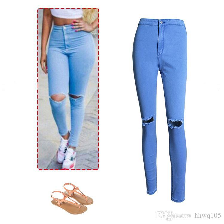 2017 Sexy Women High Waist Jeans Super Ripped Skinny Denim Jeans ...