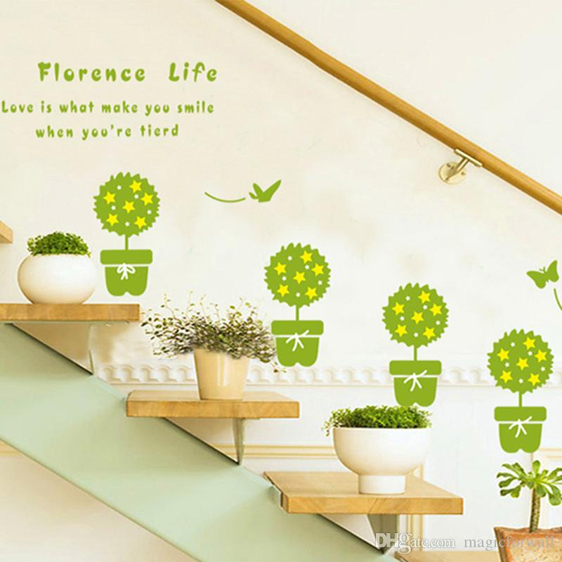 Bonsai Green Potted Plant Cactus Butterfly Wall Stickers Window Glass Bathroom  Decoration Wall Decals Window Glass Wall Border Mural Decor Bonsai Green ...