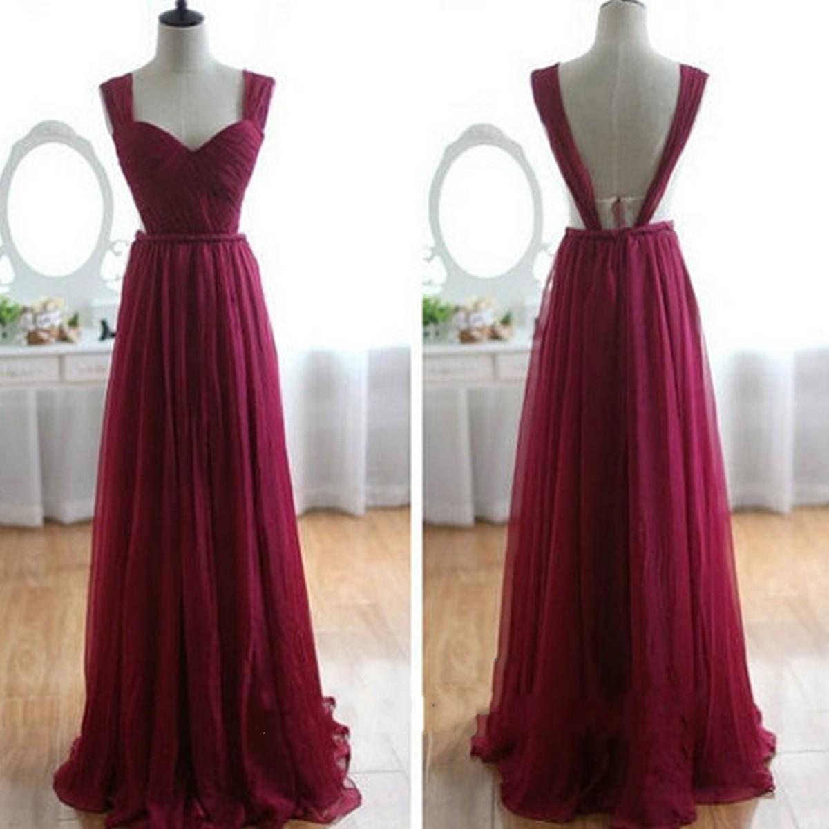 Real Image Wine Red Chiffon Bridesmaid Dresses 2017
