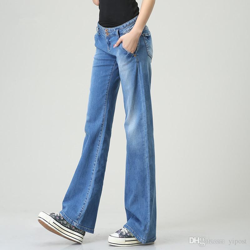 2017 Women'S Autumn Full Length Wide Leg Denim Flare Pants Vintage ...