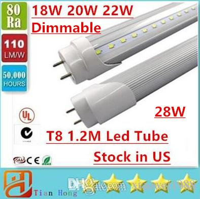 Stock dans US Dimmable 4ft 1200mm T8 Led Tube Light Haute Super Bright 22W 28W W