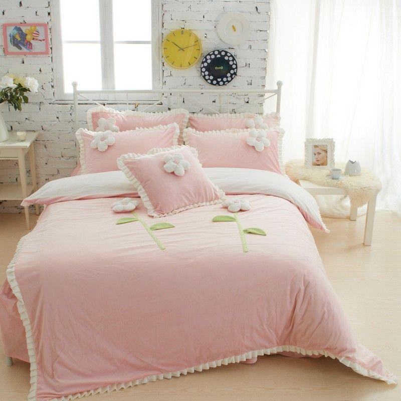 King Queen Twin Girls Bedding Sets Winter Thick Fleece