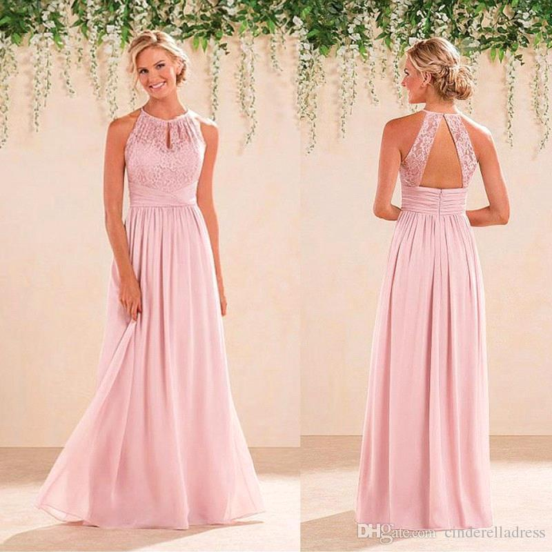Baby pink halter neck lace chiffon long bridesmaid dresses for Baby pink wedding dress