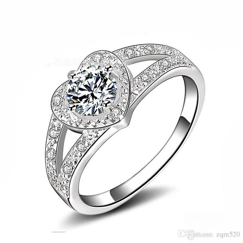 2017 Korean Heart Shaped Diamond Ring 925 Sterling Silver Rings ...
