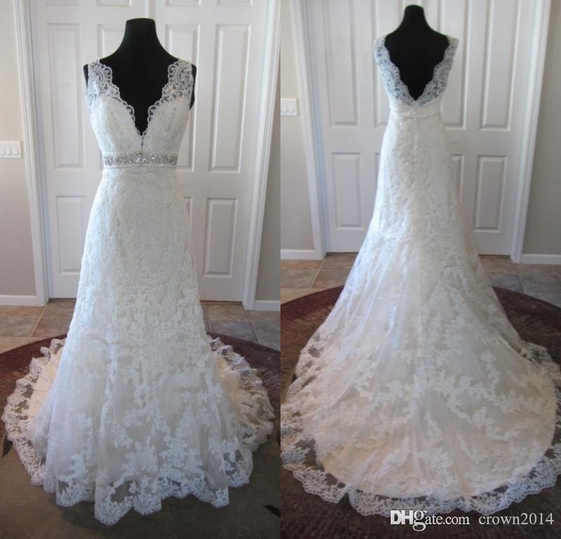 Lace v neck beaded wedding dresses all over scalloped for All over beaded wedding dress