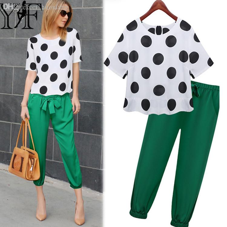 Online Cheap Wholesale Chiffon Trouser Suit 2016 Women Set Dot ...