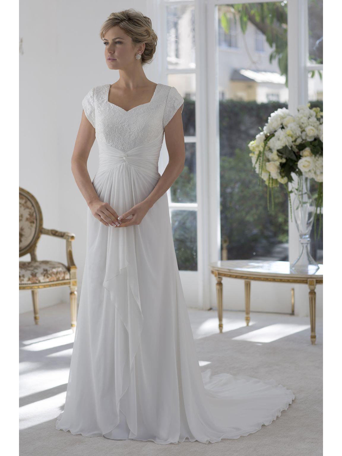 Discount informal lace chiffon beach modest wedding for Informal wedding dresses cheap