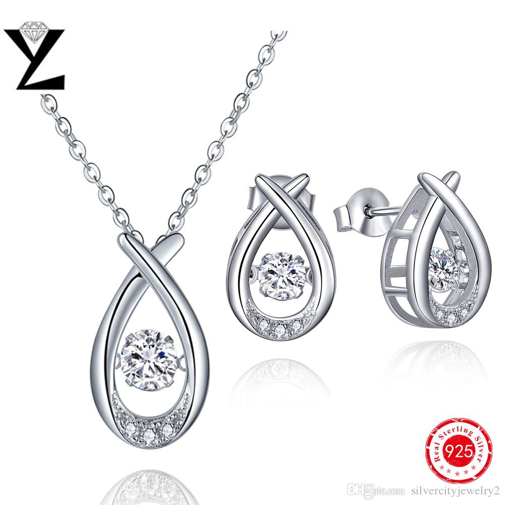 925 Sterling Silver Jewelry Set Aaa Cubic Zirconia Necklace Silver 925  Dancing Created Diamond Earrings Necklace Women Wedding Sets Dp23320a Dancing  Diamond