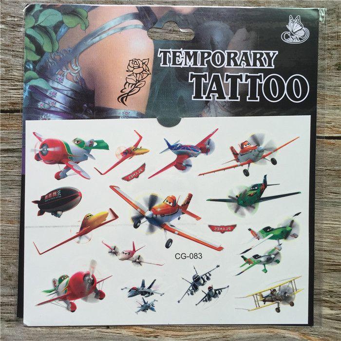 New Design Aircraft Story Cartoon Temporary Tattoos Sticker For ...