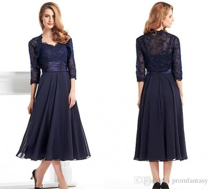 Chiffon dark navy mother of the bride groom dresses with for Tea length wedding dress with bolero jacket