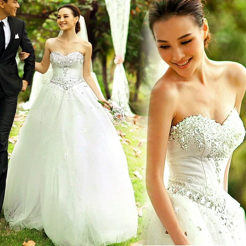 Discount sparkly strapless princess wedding dresses real for Sparkly beach wedding dresses