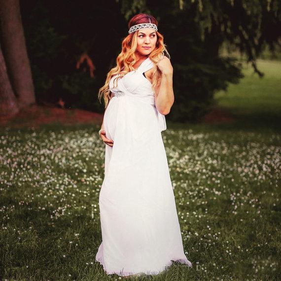 2016 beach maternity wedding dresses cheap chiffon bridal for Plus size maternity wedding dresses cheap