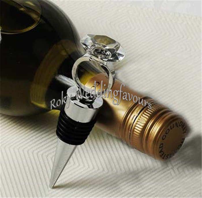 DHL Unique Diamond Ring Wine Bottle Stopper Wedding Favors Giveaways Bomboniere Wine Stoppre