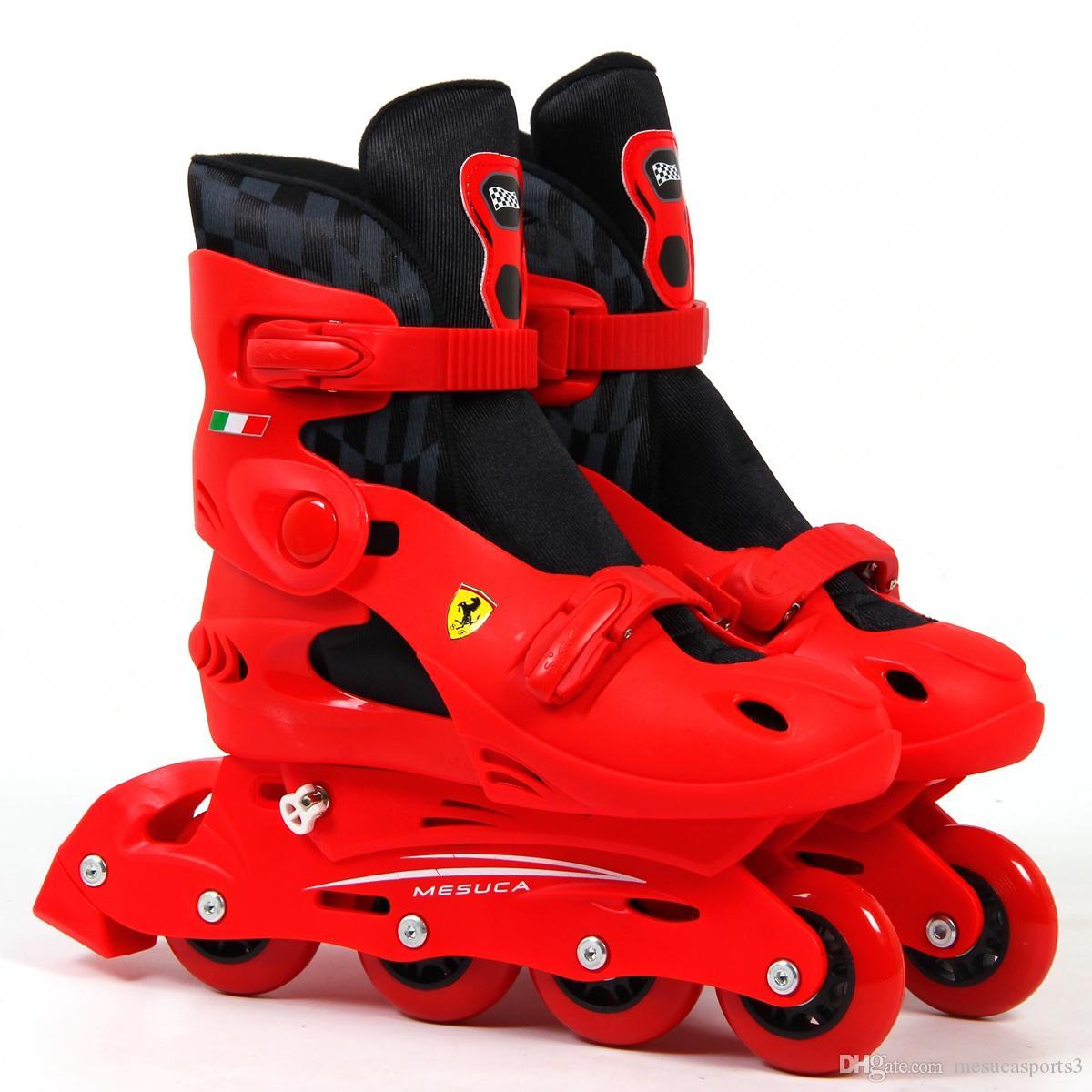 Roller skates red - Ferrari Basic Inline Skate Rollerblade Outdoor Sports Roller Blades Skating Shoes Adjustable Size For Kids Children