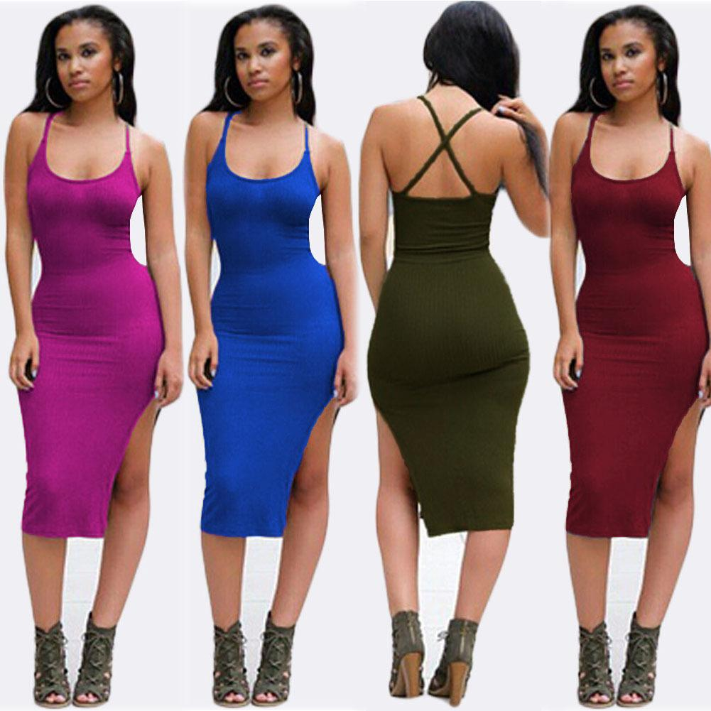 Women Clothing Summer Style Ladies Black Backless Midi Dress Side ...