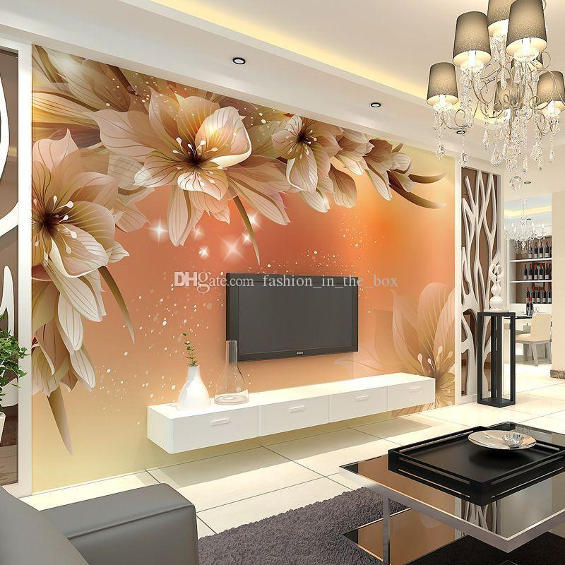 Awesome Custom Luxury Wallpaper Elegant Flowers Photo Wallpaper Silk Wall Murals  Home Decor Wall Art Kid Room Bedroom Living Room TV Background Wall Luxury  ... Awesome Ideas